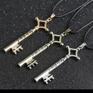"Skeleton Key Anime Silver Pendant Necklace 20"""
